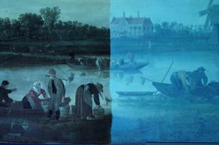restauratie Jan van Goyen, Museum de Lakenhal, detail in UV